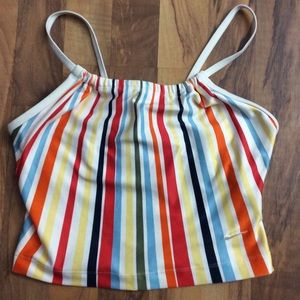 Nike Size Small Rainbow Striped Bra Crop Top
